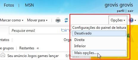 Acesse as configurações do Hotmail.