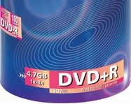 Detalhe de um tubo de DVD+R.