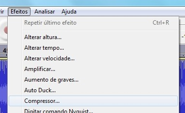 Acessando o Compressor, do Audacity.