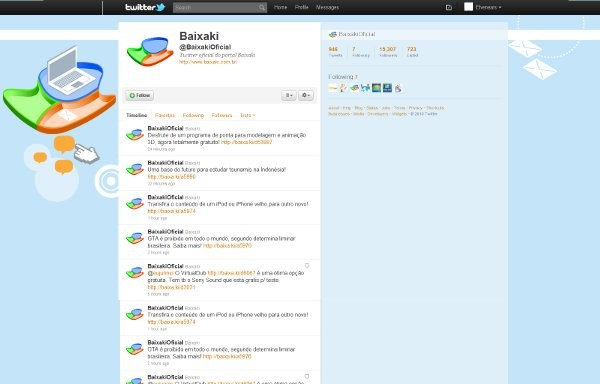 Novo layout do perfil do Baixaki no microblog