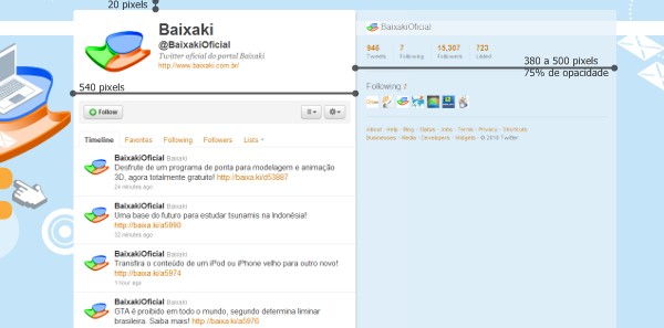 Medidas das colunas do novo design do Twitter