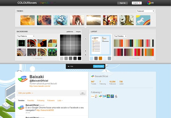 Editando o fundo do Twitter no Themeleon