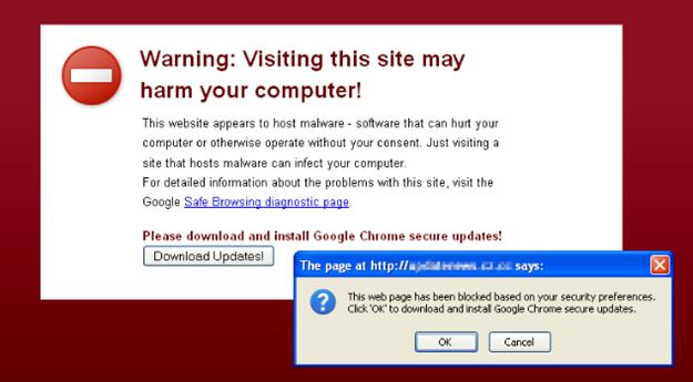 Página de ataque no Google Chrome