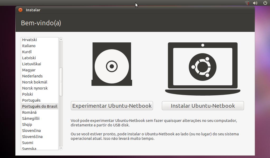 Tela inicial do Ubuntu Netbook para teste ou instalação do sistema