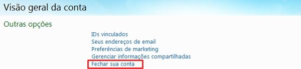 Tela de configurações gerais da conta do MSN