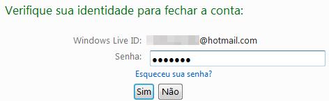Verificação de identidade do Hotmail
