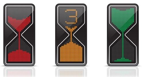 Os três estados do semáforo-ampulheta