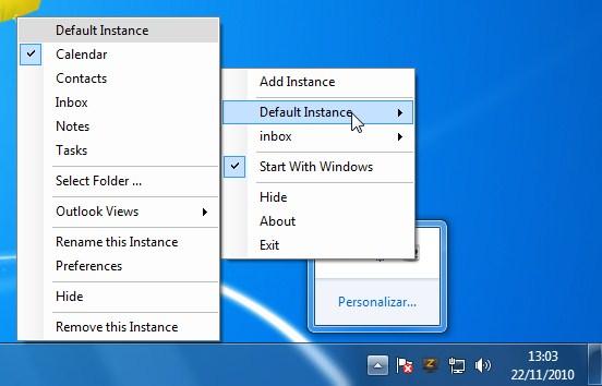 Ferramentas do Outlook que podem ser abertas