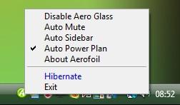 Opções do menu de contexto