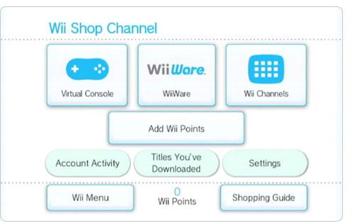 Tela da loja online do Wii