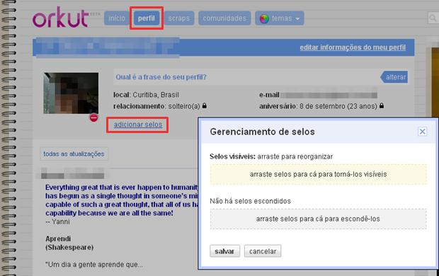 Opção misteriosa no Orkut