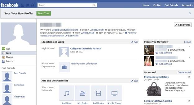 Novo perfil: semelhante a antiga página inicial e sem abas