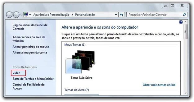 Abrindo as configurações de vídeo