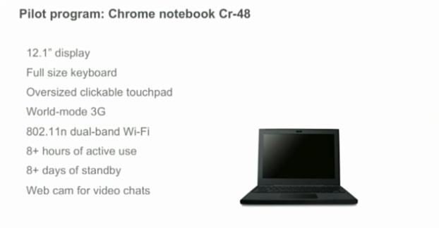 As características do netbook da Google