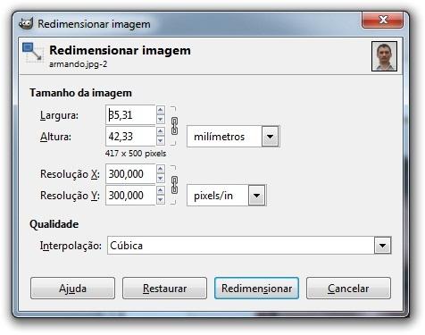 Resolução e tamanho da imagem, ajustados no GIMP