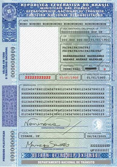 Carteira Nacional de Habilitação, a carta de motorista