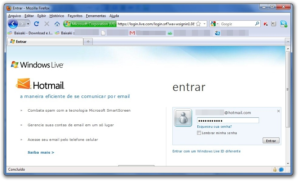 Tirando a página inicial do Windows Live do Hotmail