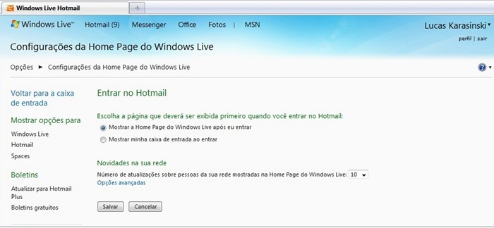 Tirando a página inicial do Windows Live do Hotmail