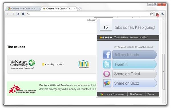 Você usa o Chrome e a Google faz doações. Imagem: Reprodução.
