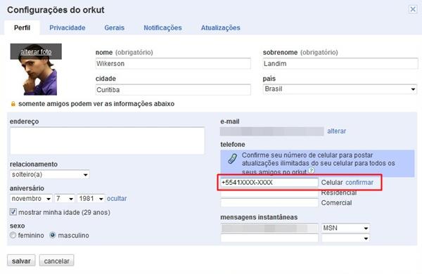 Cadastre seu celular no Orkut