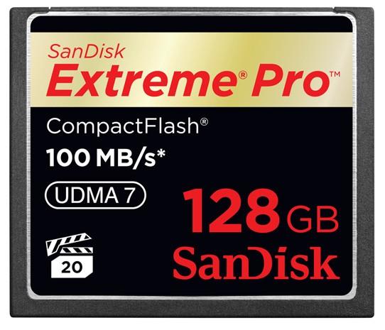 Novo cartão CompactFlash da SanDisk com 128 GB de espaço