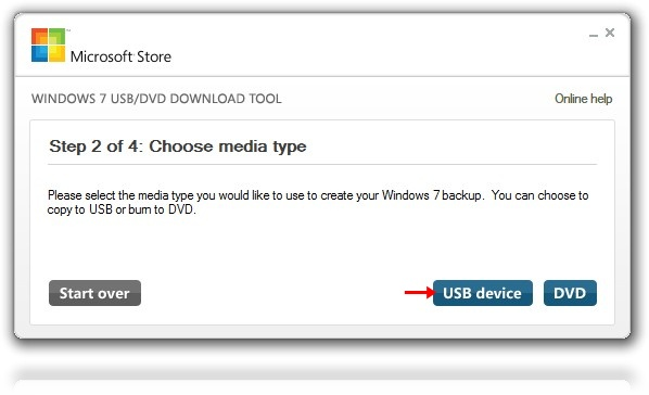 Escolhendo tipo de dispositivo