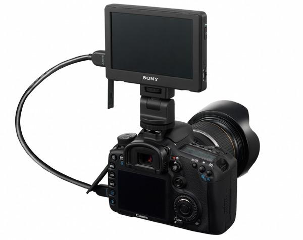 Visor LCD de alta definição acoplado à câmera DSLR.