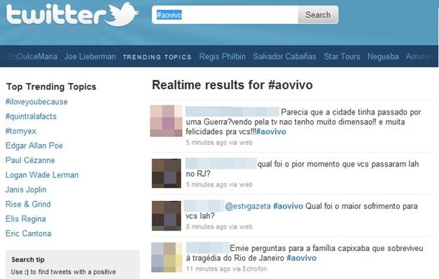 Exemplo de cobertura ao vivo com participação de internautas.