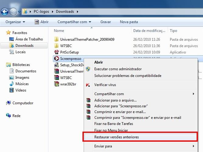 Acesse o menu de contexto para restaurar um arquivo.
