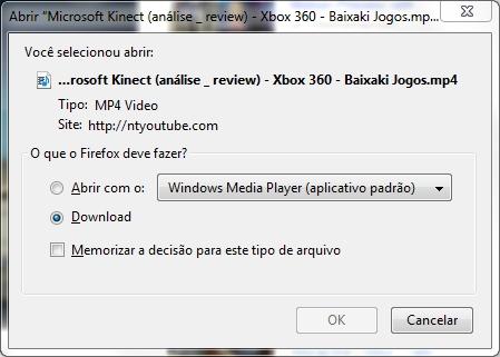 Passo 3: confirme o download do arquivo MP4