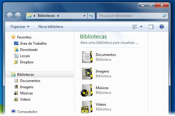 Novo visual para as pastas das Bibliotecas do seu PC