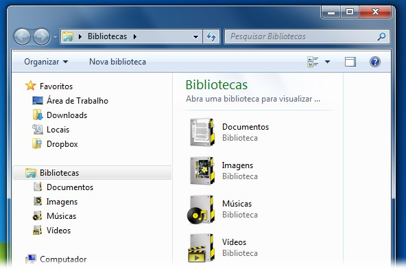 Novo visual para as pastas das Bibliotecas do seu PC