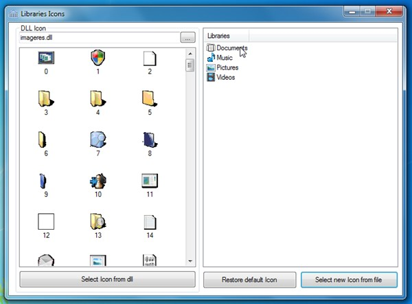 Janela do aplicativo Library Icon Changer