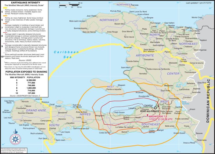 Mapa dos terremotos no Haiti