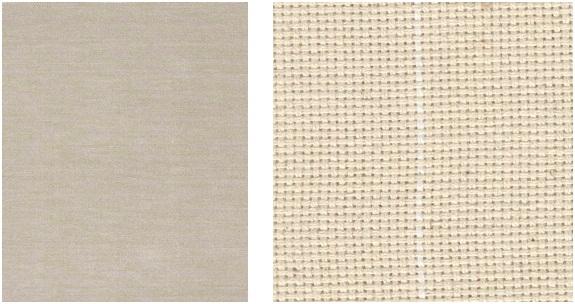à esquerda, tecido de trama fina. à direita, tecido de trama mais grosseira.