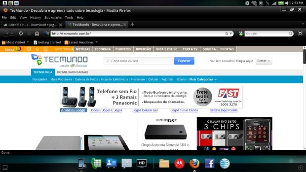 Screenshot do Tecmundo acessado através do Webtop