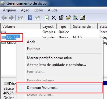 Com o botão direito do mouse, acesse o menu e escolha a opção para diminuir o disco.