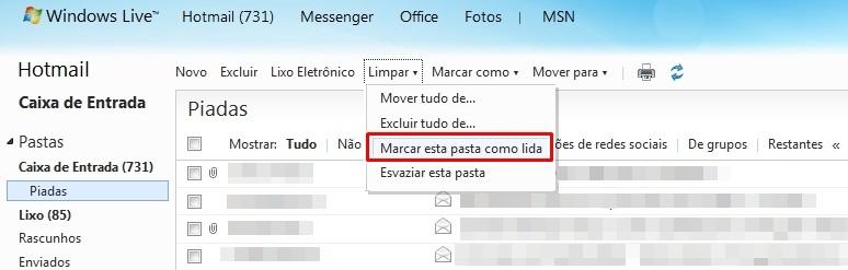 Limpar no Hotmail