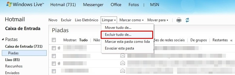 Limpando o Hotmail