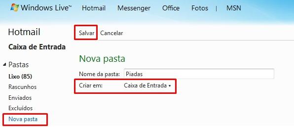 Criando pastas no Hotmail