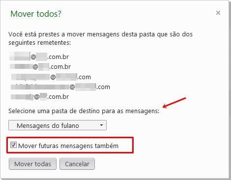 Direcionando para as pastas do Hotmail