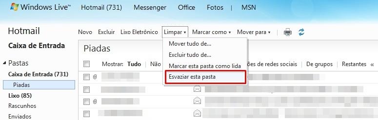 Ferramenta Limpar do Hotmail
