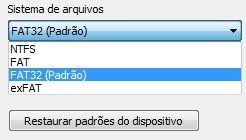 Sistema de arquivos que aparecem no Windows