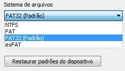Sistema de arquivos que aparecem no Windows