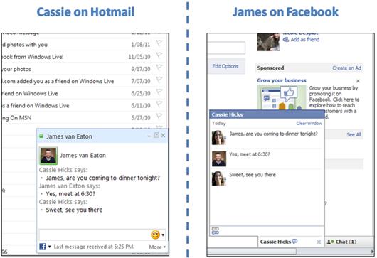 Converse com os amigos do Facebook no Hotmail