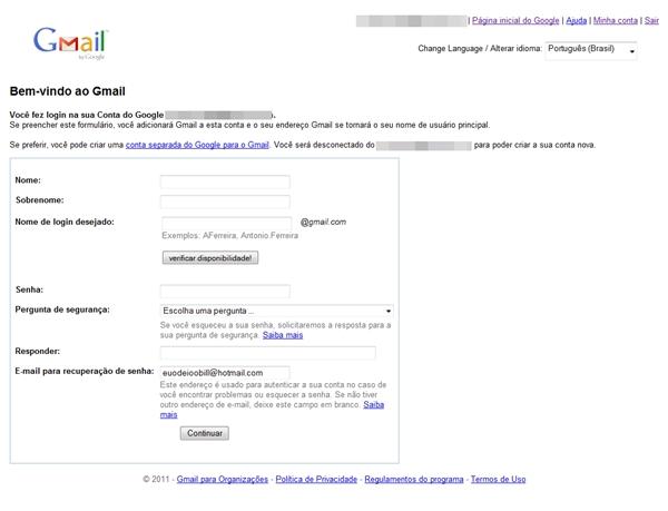 Formulário para quem já possui a Conta do Google