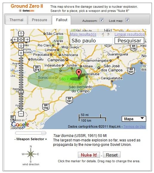 O Fallout, ou alcance das partículas nocivas, após seis horas