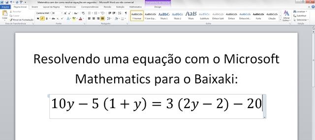 Digitando a equação