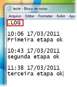 É possível criar um log no Bloco de Notas