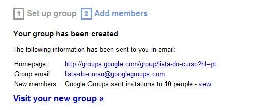 Grupo criado
